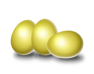 Three golden easter eggs isolate in white