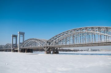 St.Petersburg bridge across the river in winter
