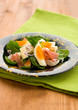 spring salad with spinach,egg,ham and feta