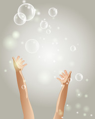 Hands and bubbles