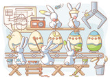 Easter rabbit factory producing dyed eggs poster