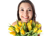Happy smiling woman with flowers