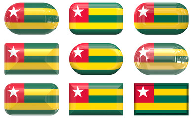 nine glass buttons of the Flag of Togo