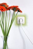 Socket and flowers for Eco Electricity or recycling resource poster