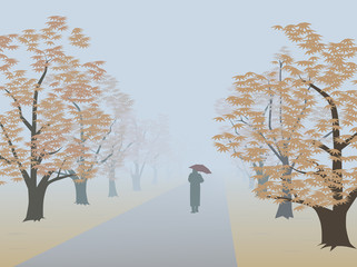 Autumnal alley. Infinite way