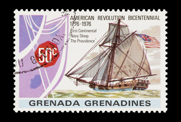 mail stamp featuring The Providence Navy sloop sailing ship