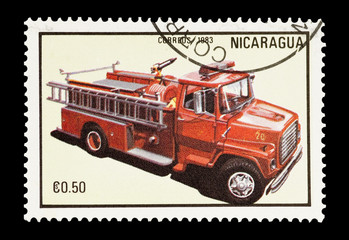 Nicaraguan mail stamp featuring a fire truck
