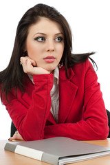 Worried young businesswoman
