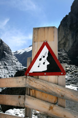 Information signs in Grindelwald Glacier, Switzerland