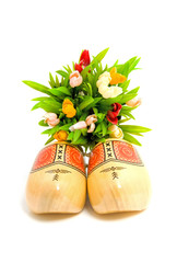 pair of traditional Dutch yellow wooden shoes over white