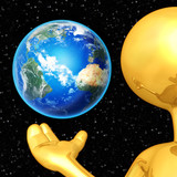 Gold Guy Presenting Earth