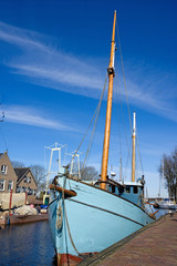 old boat at the harbor in the Netherlands