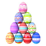 Colorful easter eggs pyramid