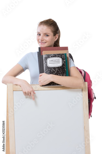education series template - Friendly Caucasian woman high school