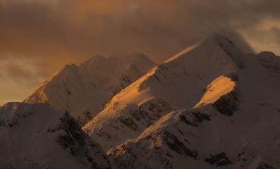 Sunset in alps in winter
