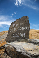 Keep our desert clean printed on a rock in the Namib desert