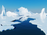 Opening passage in pack ice. Global warming concept.