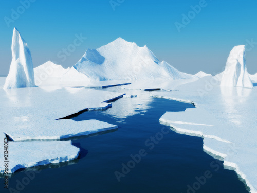 Opening passage in pack ice. Global warming concept. - 21240802