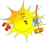 The Sun with pail and rag poster