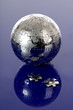 Globe puzzle on blue background