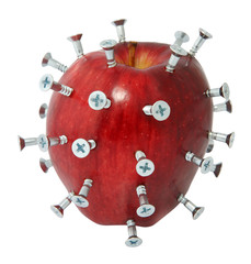 Screwed up diet  -  with apple and screws