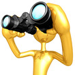 Gold Guy Looking Through Binoculars