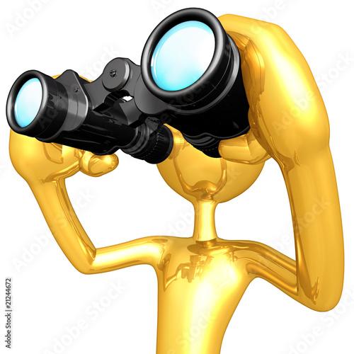 Gold Guy Looking Through Binoculars
