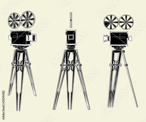 Antique Movie Stand Camera Vector 01