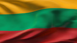 Creased Lithuania flag in wind in slow motion poster