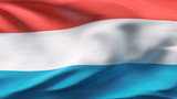 Creased Luxembourg flag in wind with seams and wrinkle poster