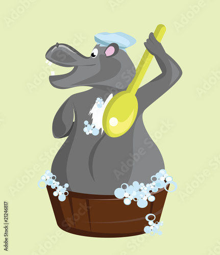 Funny hippo illustration