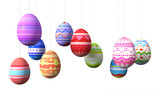 Hanging colorful easter eggs