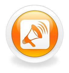 Orange announcement icon/button