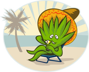 Agave plant cartoon sombrero hat martini beach