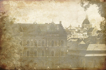 View on the Krakow city - vintage styled picture