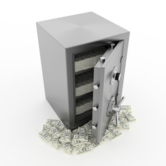 Bank safe with money