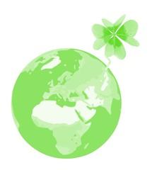 Erde mit Glücksklee - grün