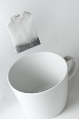 It's teatime - teabag with teacup