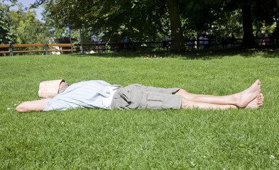 Man relaxing in the park in Vienna