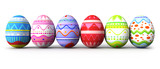 Six colorful easter eggs