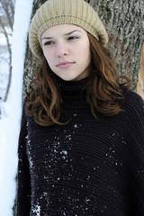 white girl in winter season