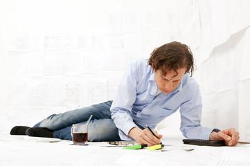 Engineer working overtime