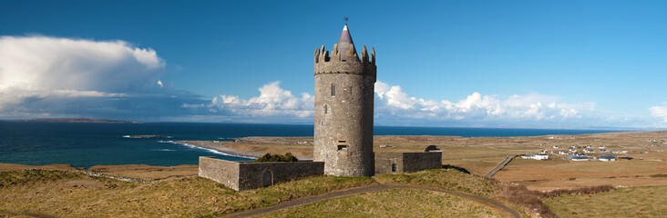 panoramic old ancient irish castle west coast ireland