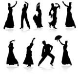 Fototapety flamenco dancers black vector silhouettes