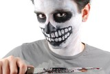 Murderer skeleton guy with a bloody knife poster