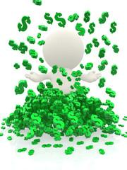 3D man under a money rain