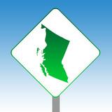 British Columbia map road sign poster