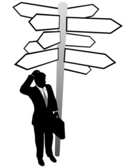 Business man search decision directions signs solution