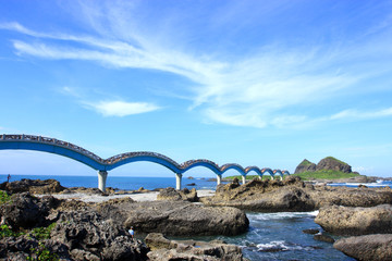 famous ocean scene with beautiful bridge in taiwan.
