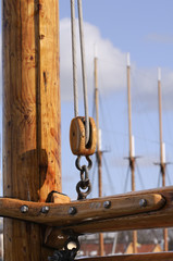 Detail of a sailboats rigging